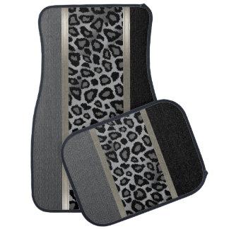 エレガントな灰色、黒いおよびヒョウの動物のデザイン カーマット