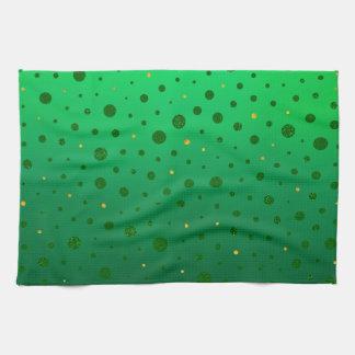 エレガントな点-緑の金のセントパトリックの日 キッチンタオル