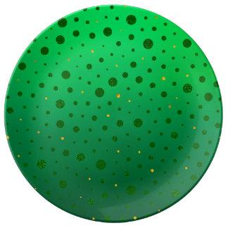エレガントな点-緑の金のセントパトリックの日 磁器プレート