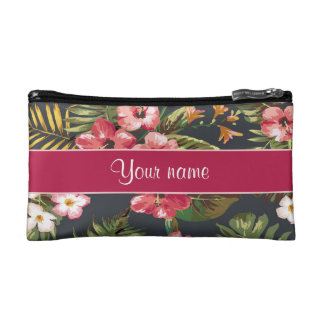 エレガントな熱帯ハイビスカスの花および葉 コスメティックバッグ