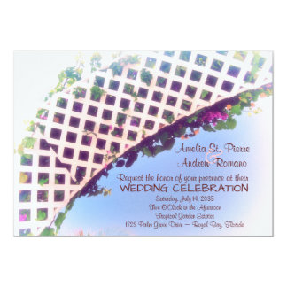 エレガントな熱帯花の庭園の結婚式の招待状 12.7 X 17.8 インビテーションカード