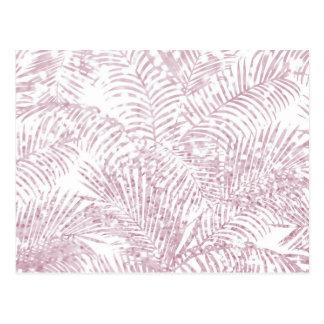 エレガントな熱帯赤面のピンクの模造のなグリッターのヤシの木 ポストカード