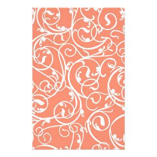 エレガントな珊瑚のヴィンテージスクロールダマスク織パターン 便箋