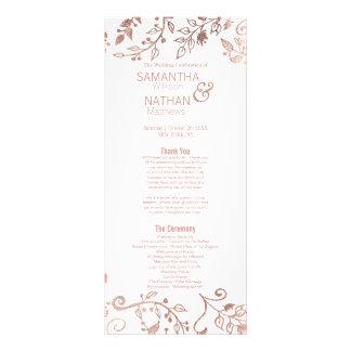エレガントな白いバラの金ゴールドの花柄の結婚式プログラム ラックカード