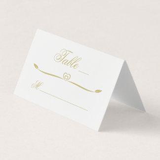 エレガントな白および金ゴールドのハートの華麗さの結婚式 プレイスカード