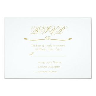 エレガントな白および金ゴールドのモノグラムRSVP カード