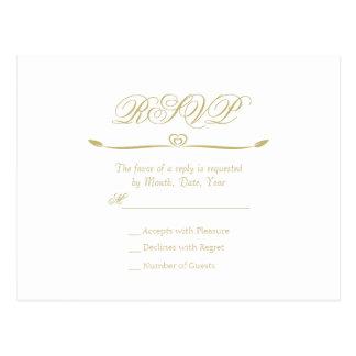 エレガントな白および金ゴールドのモノグラムRSVP ポストカード