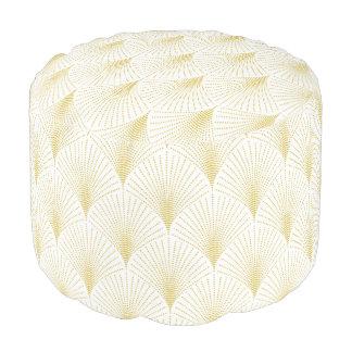 エレガントな白及び金ゴールドの幾何学的な芸術decoパターン プーフ