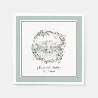 エレガントな白鳥の水彩画の花の結婚式 スタンダードカクテルナプキン