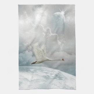 エレガントな白鳥の飛行中に台所タオル キッチンタオル