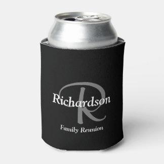 エレガントな白黒およびモノグラムのな銀製灰色 缶クーラー
