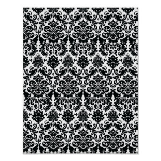エレガントな白黒のヴィンテージのダマスク織パターン ポスター