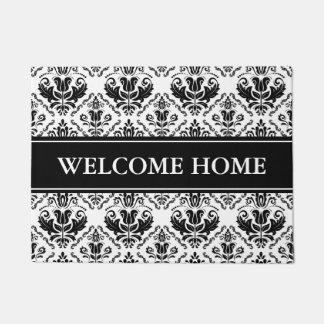 エレガントな白黒のヴィンテージの花柄のダマスク織 ドアマット