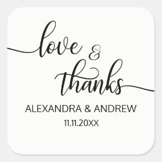 エレガントな白黒の原稿の結婚式の愛及び感謝 スクエアシール