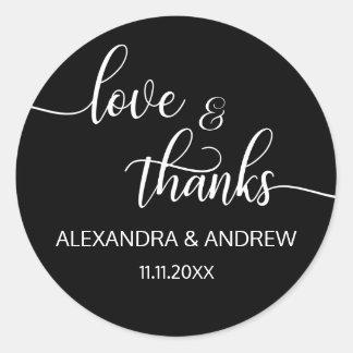 エレガントな白黒の原稿の結婚式の愛及び感謝 ラウンドシール