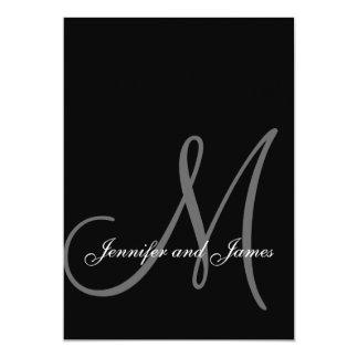 エレガントな白黒の結婚式招待状のイニシャル カード