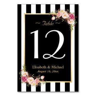 エレガントな白黒の花の結婚式のテーブル数 カード