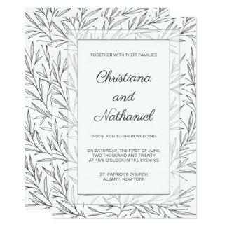 エレガントな白黒の花柄の結婚式招待状 カード