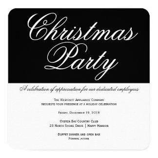 エレガントな白黒オフィスのクリスマス・パーティ カード