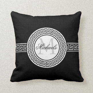 エレガントな白黒ギリシャ人の鍵のモノグラムの枕 クッション