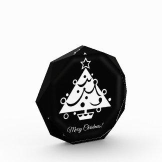 エレガントな白黒クリスマスツリー 表彰盾