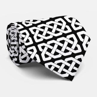 エレガントな白黒ケルト結び目模様パターン ネクタイ