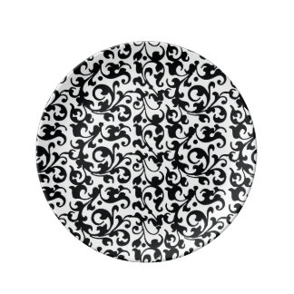 エレガントな白黒ダマスク織の渦巻 磁器プレート