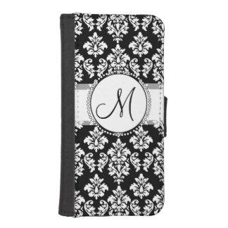 エレガントな白黒ダマスク織パターンモノグラム iPhoneSE/5/5sウォレットケース