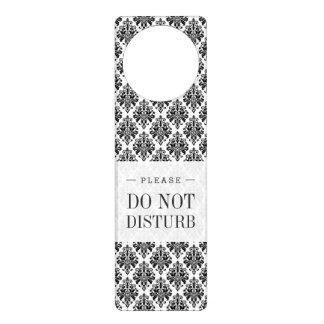 エレガントな白黒ダマスク織パターン ドアノブプレート
