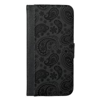 エレガントな白黒ペイズリーパターン iPhone 6/6S PLUS ウォレットケース