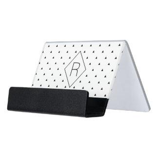 エレガントな白黒幾何学的なパターン|三角形 デスク名刺ホルダー
