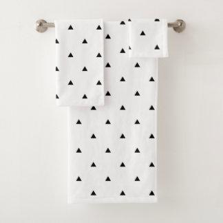 エレガントな白黒幾何学的なパターン|三角形 バスタオルセット