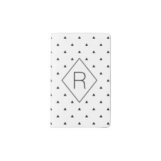 エレガントな白黒幾何学的なパターン|三角形 ポケットMoleskineノートブック