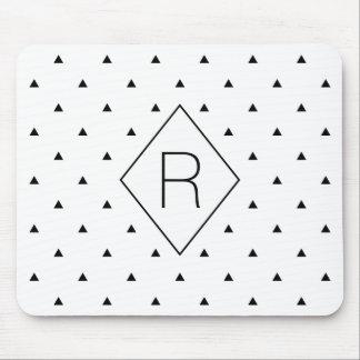 エレガントな白黒幾何学的なパターン|三角形 マウスパッド