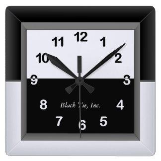 エレガントな白黒時計 スクエア壁時計