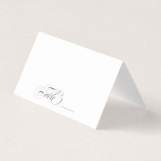 エレガントな白黒書道のテーブルのゲスト プレイスカード