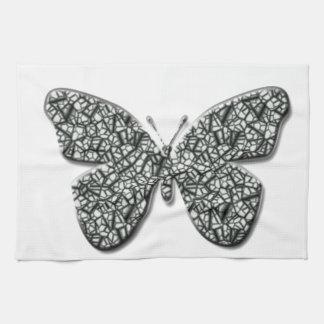 エレガントな白黒蝶 キッチンタオル