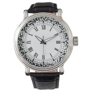エレガントな白黒Tudorは花柄庭いじりをします 腕時計