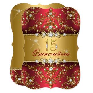 エレガントな真珠のダマスク織ルビー色の赤いキンセアニェラ カード