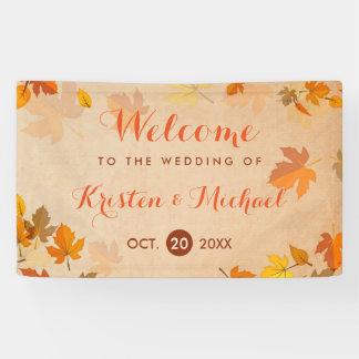エレガントな秋のかえでは秋の結婚式を去ります 横断幕
