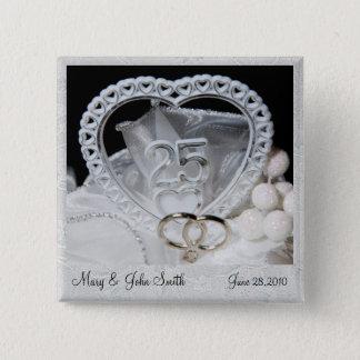 エレガントな第25結婚記念日ボタン 5.1CM 正方形バッジ