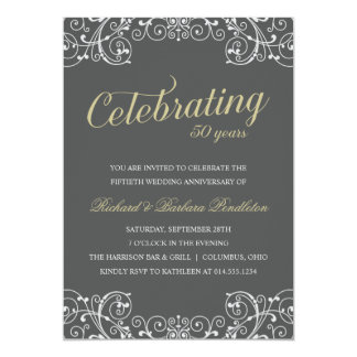 エレガントな第50結婚記念日のパーティー 12.7 X 17.8 インビテーションカード