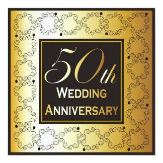 エレガントな第50結婚記念日の招待状 13.3 スクエアインビテーションカード