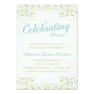 エレガントな第50結婚記念日の招待 12.7 X 17.8 インビテーションカード