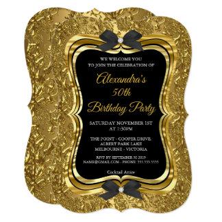 エレガントな第50誕生会の金ゴールドの金黒2 カード