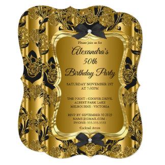 エレガントな第50誕生会の金ゴールドの金黒3 カード