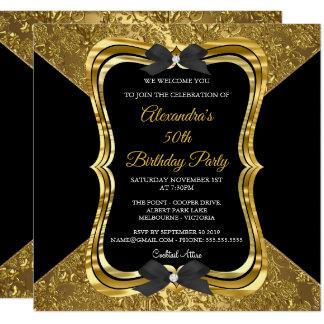 エレガントな第50誕生会の金ゴールドの金黒 カード