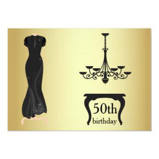 エレガントな第50誕生日の金ゴールドおよび黒い招待 カード