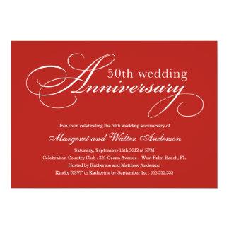 エレガントな第50 |の結婚記念日の招待状 カード