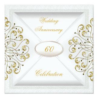 エレガントな第60結婚記念日のホワイトゴールド カード